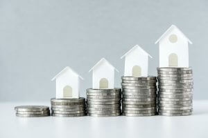 Macro shot of increase in mortgage rate concept